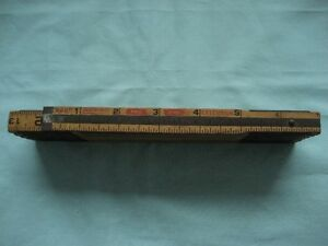 Vintage Lufkin X46 6 foot folding brass & wood ruler
