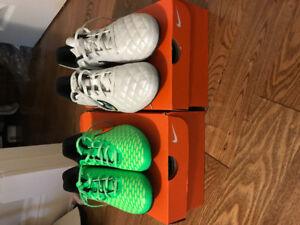 Boys Soccer Cleats - Size 3 (green) or Size 5 (white)