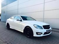 2012 62 Reg Mercedes Benz C220 CDI Sport AMG Coupe + WHITE + FULL LEATHER + Auto
