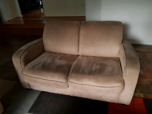 Beige suede couches (two)