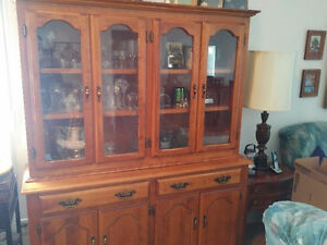 Wood and glass Hutch, China Cabinet
