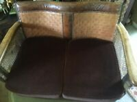 Vintage compact leather and Bergere canework compact sofa