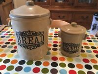 Vintage stone bread bin and biscuit barrel