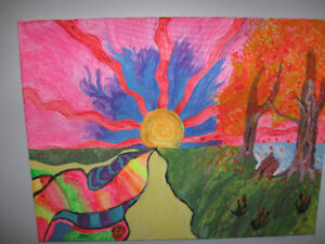 Psychedelic sunset painting