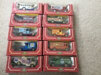 Collection of vintage cars in the boxes