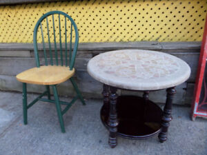 Table basse ronde vintage - Round coffee table, mosaic top