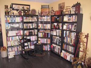 Tall black bookcases