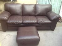 Chocolate Brown original DFS Leather 3 seater sofa and footstool