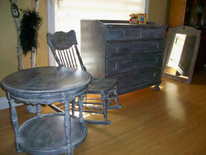 Solid wood antique dresser & matching mirror London Ontario image 3