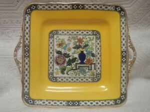 Coronet English Hand Painted double-handled square plate
