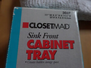 2-11 in. White Sink Front Cabinet Tray with Scissor Hinges NEW