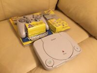 Look@@ With accessories PsOne Retro Playstation 1 ps1 with pad memory card extra pad
