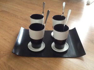 Cups, coasters/lid, spoons,serving tray