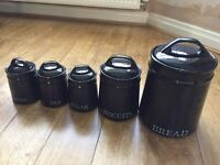 Black porcelain kitchen canister set
