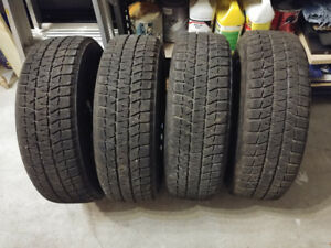 4 pneus hiver winter tires WS80 Blizzak 195-65-R15  9/32 rims