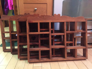 five wooden shadow boxes in excellent condition