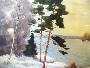 "Original Watercolor by William Blackwood, ""Winter Study"" 1930 Stratford Kitchener Area image 4"
