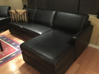 Custom Beautiful Black Leather Sleeper Couch and Chaise Lounger