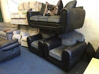 Ex Littlewoods three piece suite black and grey fabric 3 seater sofa and 2 armchairs