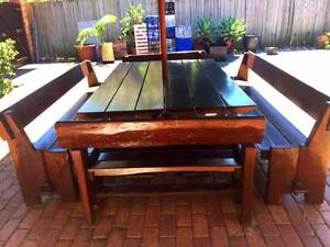 Huge solid wooden outdoor table with Umbrella. Seats 16 Mortlake Canada Bay Area Preview