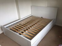 Ikea white Double Bed with storage