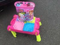 Children's Mega Blocks table and glitter pastels mega blocks set good as new