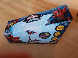 Spiderman 3 wheel scooter brand new unopened, in box.