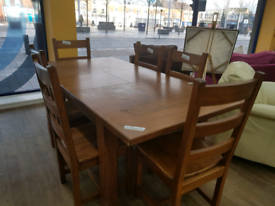 Heavy extending dining table and 6 chairs