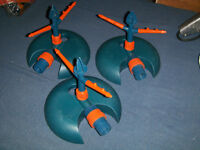 3 ROTATING WATER SPRINKLERS-PLASTIC-UNUSED-SOME SCRATCHES-GARDEN