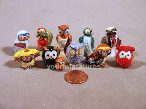 Owls  French Feves Porcelain 10 Figurines Epiphany Cake