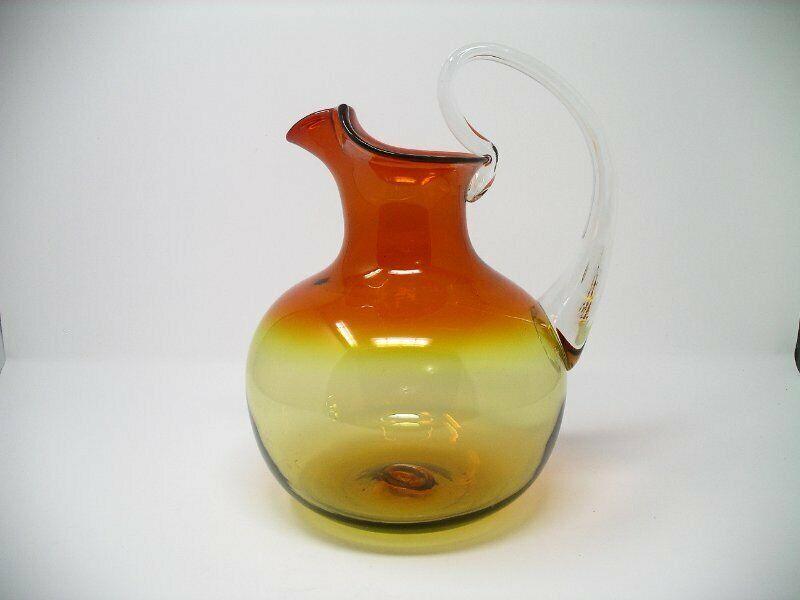 3 Vtg Mid Century Blenko Art Glass 544 Large Tangerine Ball Pitcher