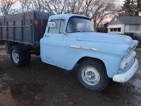 1958 chevy truck apache 1 ton dually 6cyl-4spd dump box