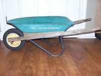 John Deere Childs Metal and Wood Wheelbarrow