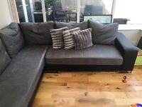 Grey faux leather corner sofa £300