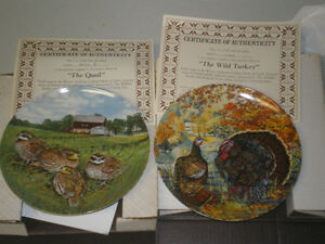"""Edwin M. Knowles """"Upland Birds of N America"""" collector plates."""
