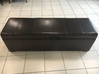 Dark Brown Leather ottoman storage chest 135cm wide