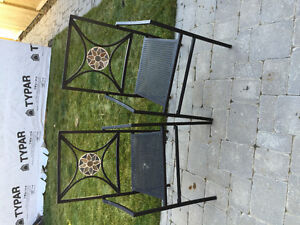Matching iron outdoor chairs