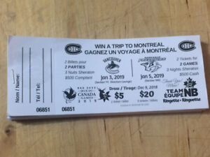 chance to win 2 tickets to two Canadiens games, hotel and $