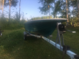 6 hp evinrude with Ez Loader Trailer and 14' Fiberglass boat