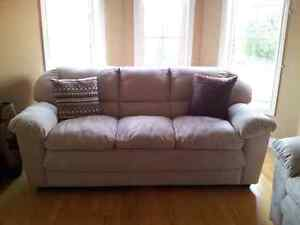 MICROSUEDE/MICROFIBRE SOFAS - $600 EACH FIRM OR  $1100 FOR BOTH