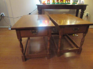 Pair of Solid Wood End Tables for sale