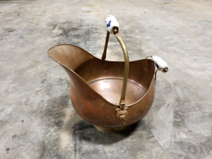 Vintage Moroccan copper and brass ash bucket