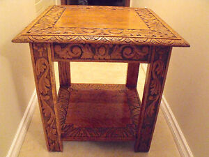 Hand carved oak Side Table/ End Table (English)
