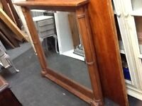 Over mantle solid wood mirror