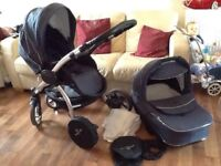 3/1 pram pushchair limited edition with chrome chassis/wheels BEBETTO