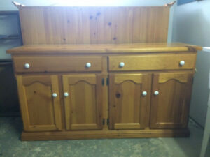 Buffet and Hutch, Handmade, solid pine