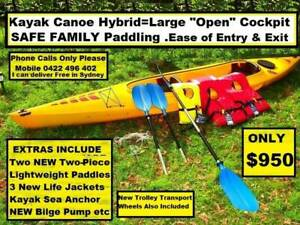 Kayak Canoe Hybrid Double Twin Tandem 2/4 Seat SAFE 4 FAMILY- COUPLE