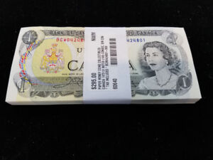 Canada 1973 $1 Notes - 100 Consecutive Serial Numbers