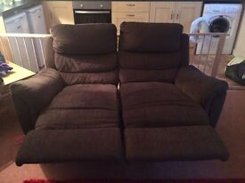 2 X 2 seater brown fabric sofas