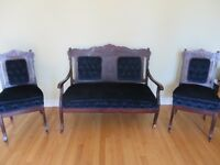 ANTIQUE LOVESEAT AND SET OF 2 MATCHING CHAIRS!